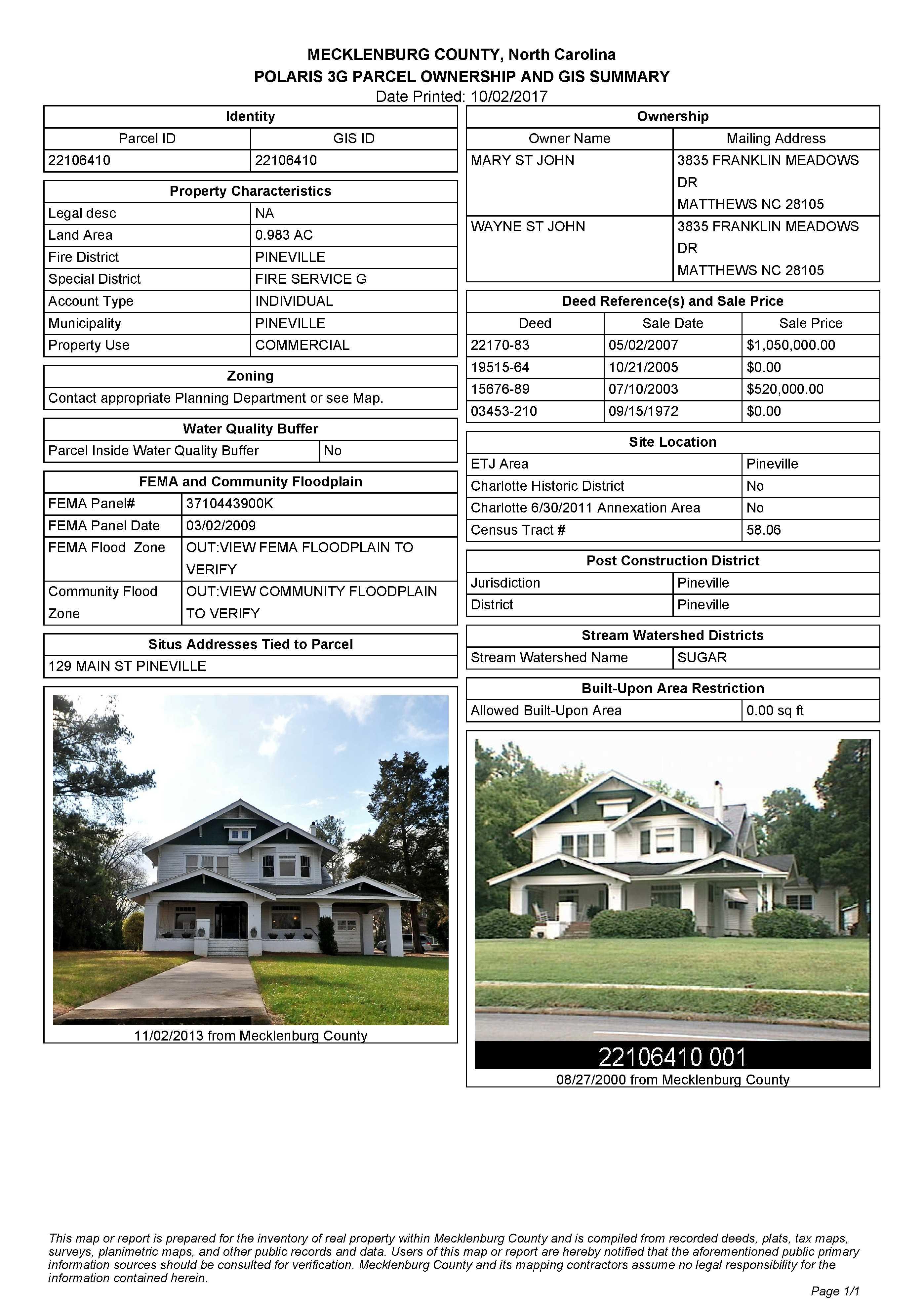129 Main Street,Pineville,North Carolina,28134,Office / Medical,Historic Oakley-Yandall House,Main Street,1399